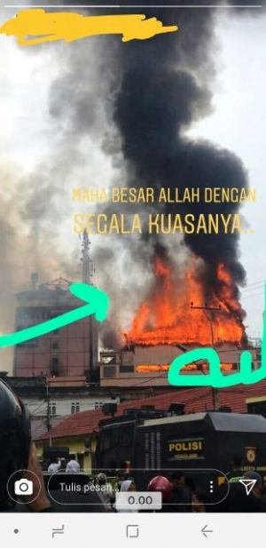 Subhanallah... Ada Foto Kobaran Api Mirip Lafadz Allah di Kebakaran Novita