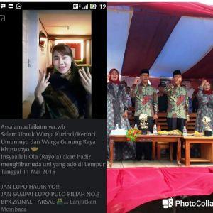 Jangan Lupa, Besok Rayola Meriahkan Kampanye Zainal- Arsal di Lempur