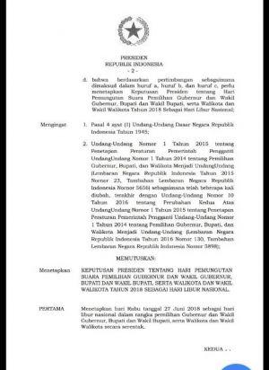 Hari H Pencoblosan 27 Juni Libur Nasional