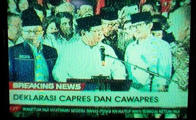 Prabowo bersama Ketua DPP PKS dan PAN mengumumkan Sandiaga Uno sebagai cawapres