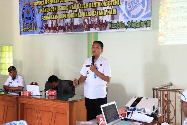 Suasana asistensi penguatan pembangunan berwawasan anti narkoba oleh BNNK Batanghari