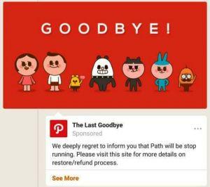 Ucapkan Selamat Tinggal,Path Tutup Layanannya