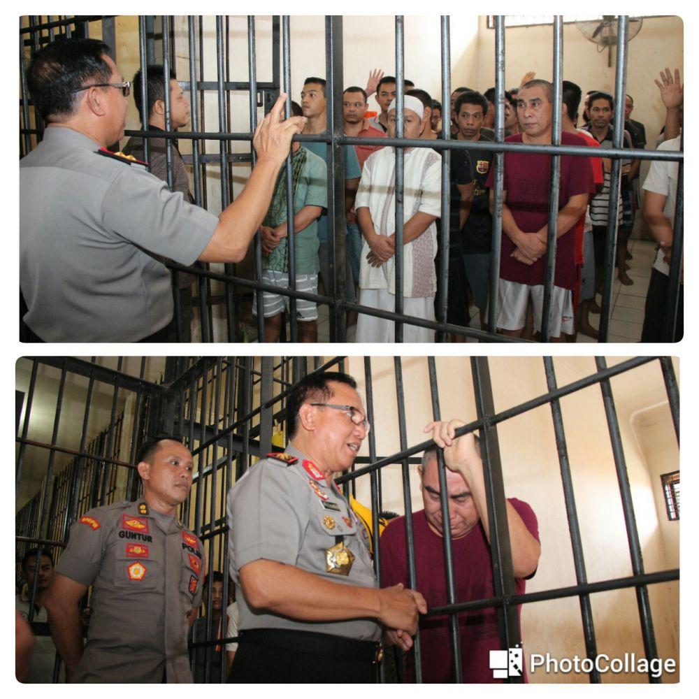 Kunjungan Kapolda Jambi ke Rumah Tahanan (Rutan) Dit Tahti Polda Jambi, Selasa (16/10/18).