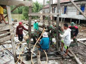 Program TMMD di Desa Pangkal Duri, Satgas juga Bangun Dua Sumur Bor