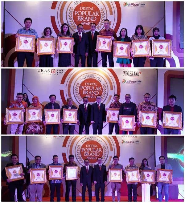Penerima penghargaan Indonesia Digital Popular Brand Award 2018
