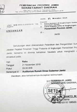 Undangan Pelantikan Pejabat Eselon Ii Hasil Lelang Disebar