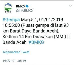 Gempa 5,1 SR Guncang Banda Aceh, 5.0 SR di Pangandaran Jawa Barat