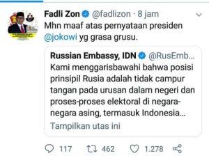 Balas Tweet Kedubes Rusia dengan Minta Maaf, Fadli Zon: Jokowi Grasa Grusu