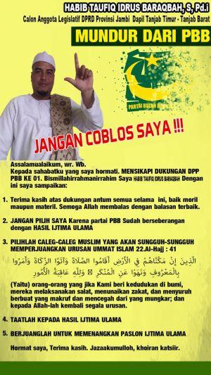 PBB Dukung Jokowi-Maruf, Ketua FPI Provinsi Jambi Mundur dari Caleg