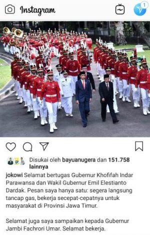 Lewat Akun Medsosnya, Jokowi Ucapkan Selamat ke Fachrori