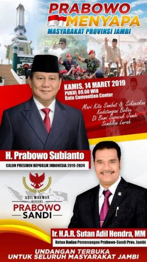 Penuhi Kerinduan Masyarakat Jambi Akan Perubahan, SAH Boyong Prabowo Subianto ke Jambi