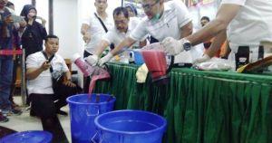 Polda Jambi Musnahkan BB Sabu dan Ribuan Ekstasi Dengan Nilai Miliaran Rupiah