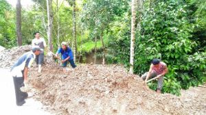 Pemuda Bersama Satgas membaur Buat Lapangan Voli Dusun Harapan