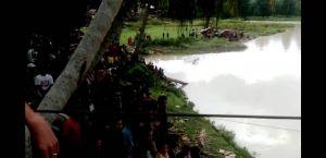 Jembatan Gantung Diterjang Angin,  Satu Warga yang Berada di Tengah Jatuh ke Sungai Batang Tebo