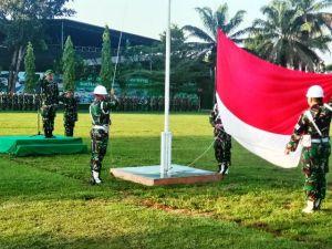 Pasca Libur Lebaran, Prajurit Korem 042 Gapu Gelar Upacara Bendera