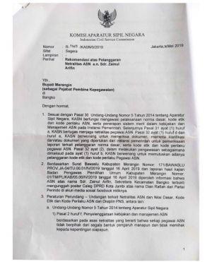 Sekcam Bangko Diberi Sanksi Sedang Oleh KASN Karena Postingan di Facebook