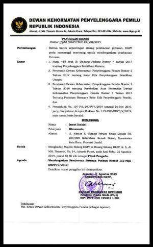 Dugaan Langgar Etik Soal Caleg Pindah Parpol, DKPP Putuskan Nasib KPU Sarolangun Siang Ini