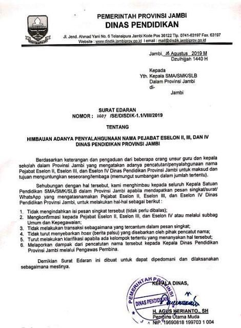Mencuat Kabar Pungutan Di Dinas Pendidikan Provinsi Jambi