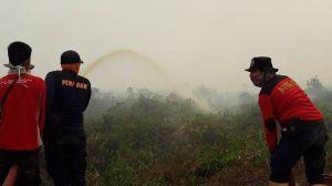 Taklukkan Api di Desa Jatimulyo Tanjabtim, Petugas Damkar Ini Sudah Berhari-hari di Lokasi