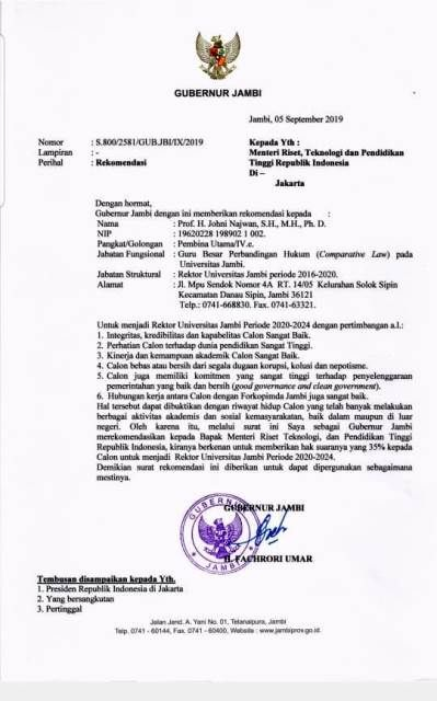 Surat Rekomendasi Gubernur Ke Jhoni Najwan Soal Suksesi