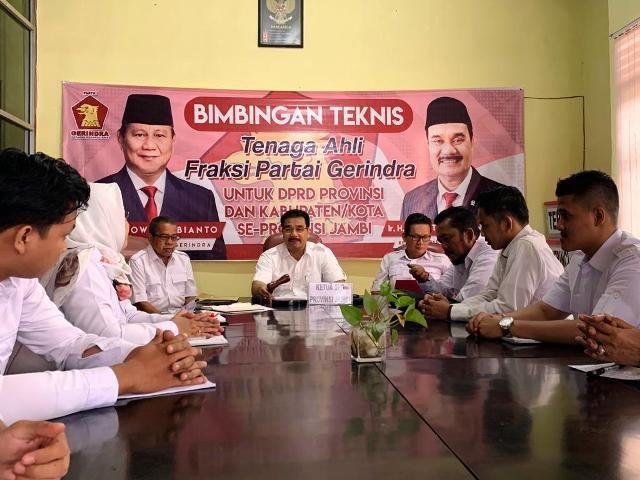 SAH: DPD Partai Gerindra Jambi Lakukan Bimtek Tenaga Ahli Partai