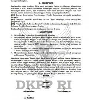 DKPP Berikan Peringatan Keras kepada 5 Komisioner KPU Bungo, Bawaslu Bungo Tak Terbukti