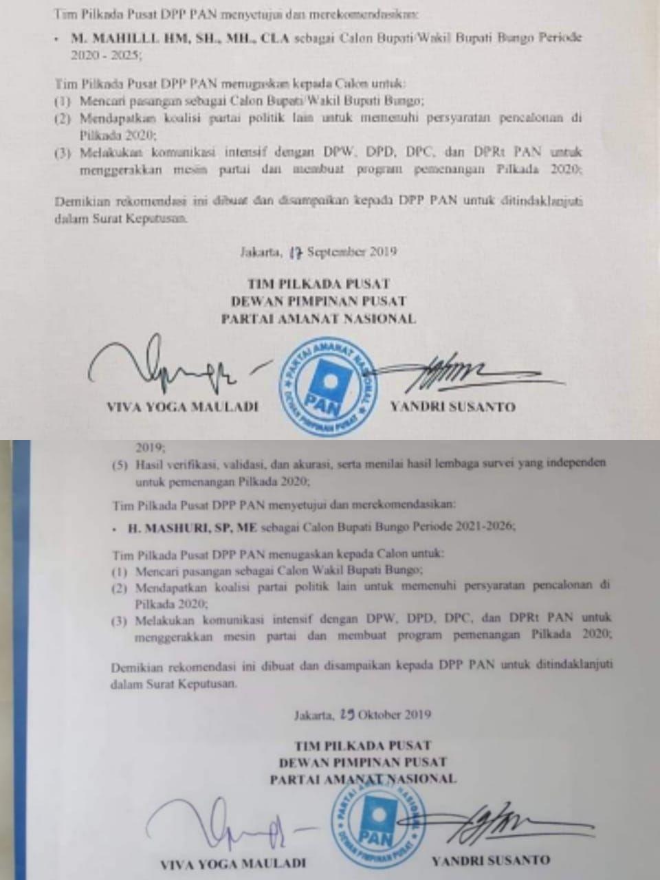 Beredar Dua Surat Rekomendasi Dpp Pan Untuk Mahili Dan