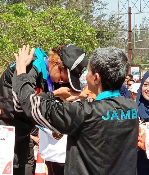 Atletik dari Maraton Kalungan Medali Emas Untuk Provinsi Jambi di Porwil Sumatra X Bengkulu, Jum'at (8/11/2019)