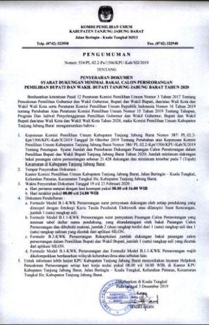 KPU Tanjabbar Umumkan Syarat Maju Pilkada Jalur Independen, Baca Disini Syaratnya