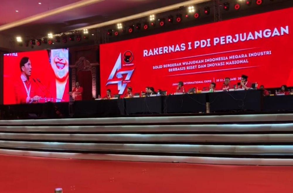 Edi Purwanto didaulat menyampaikan kesan dan pesan di hadapan peserta Rakernas I PDI Perjuangan 2020 di Jakarta (12/1/2020)