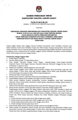KPU Buka Lowongan Seleksi PPK, Baca Pengumumannya Disini