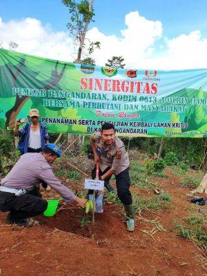 Peduli Lingkungan, Kapolres Ciamis Hadiri Penanamam Ribuan Pohon di Hutan Lindung Pangadaran