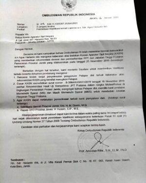 Buntut Pejabat Nonjob, Eks Kadisdik Provinsi Jambi Dkk Lapor Ke Ombudsman RI