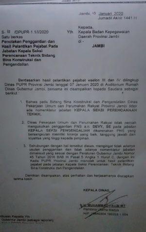 Waduh..Kadis PUPR Provinsi Jambi Tolak Hasil Pelantikan Pejabat Eselon III dan IV