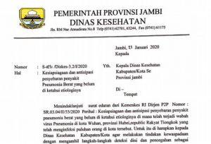 Waspada Virus Pneumonia, Dinkes Provinsi Jambi Layangkan SE Kesiapsiagaan