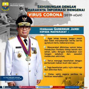 Pemprov Jambi Himbau Masyarakat Tidak Panik Dengan Virus Corona