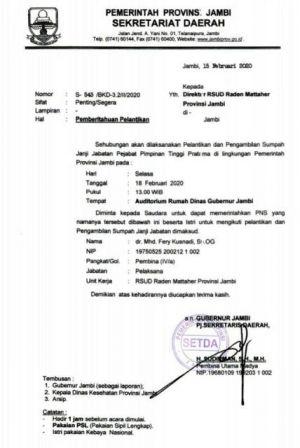 Surat Undangan ke Dr Fery Kusnadi Untuk Dilantik Jadi Direktur RSUD Raden Mattaher Beredar