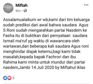 NasDem Dukung Fasha, Tim Keluarga Minta Fachrori dan Rahima Mundur