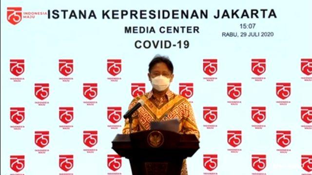 Wamen BUMN selaku Ketua Satgas Pemulihan Ekonomi, saat memberikan keterangan pers, di Kantor Presiden, Provinsi DKI Jakarta, Rabu (29/7).