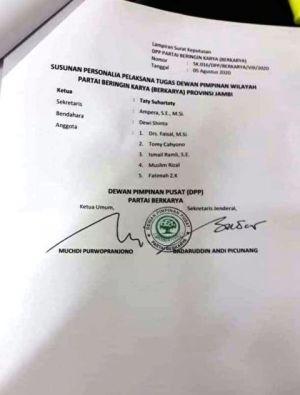 Beredar Surat Pembekuan Pengurus Berkarya Jambi, Ambiar : Tetap Satu Komando Bersama Tommy Soeharto