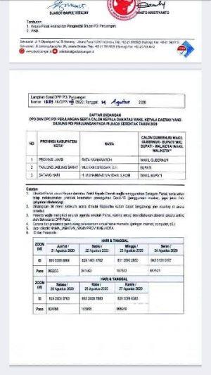 Beredar Undangan Calon yang Diusung PDIP Ikut Sekolah Partai Untuk Ratu Munawaroh,Mahdan dan Mulyani