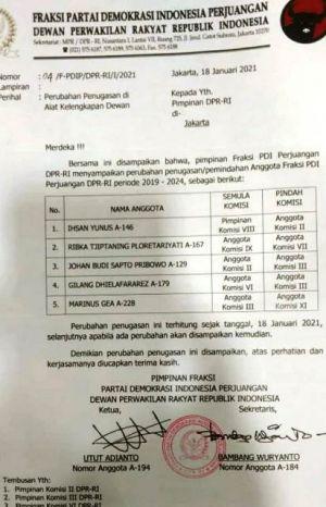Fraksi PDIP DPR RI Rombak AKD, Ihsan Yunus dan Ribka Tjiptaning Ikut Dirotasi