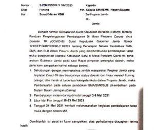 BREAKING NEWS : Sekolah Tatap Muka SMA/SMK/SLB di Jambi Kembali Distop