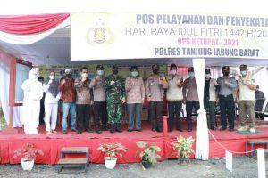 Bupati Anwar Sadat, Dandim dan Kapolres Tinjau Pos Penyekatan Mudik Perbatasan Riau
