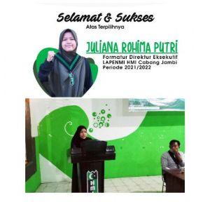 Juliana Rohima Putri nahkodai Pimpin Lembaga Pendidikan Mahasiswa Islam  HMI Cabang Jambi