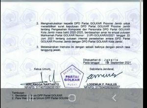 Beredar Surat Instruksi Minta DPD Golkar Keluarkan SK Budi Setiawan