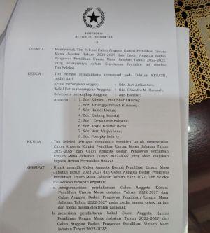 Timsel KPU dan Bawaslu RI Ditetapkan, Juri Ardiantoro Jadi Ketua